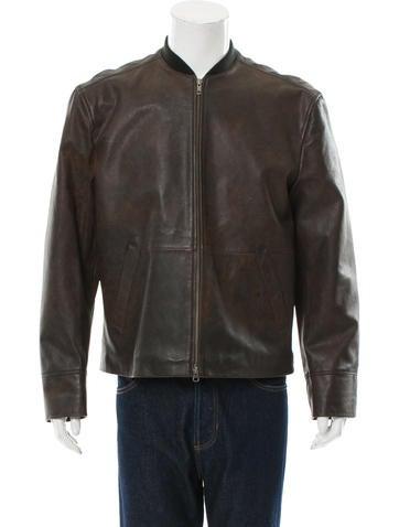 John Varvatos Leather Rib Knit-Trimmed Jacket None