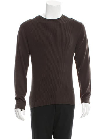 John Varvatos Rib Knit Paneled Sweater None