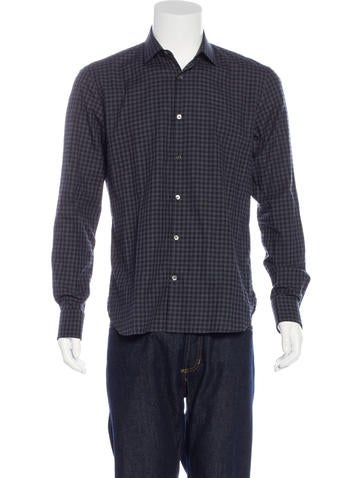 John Varvatos Gingham French Cuff Shirt W Tags Clothing