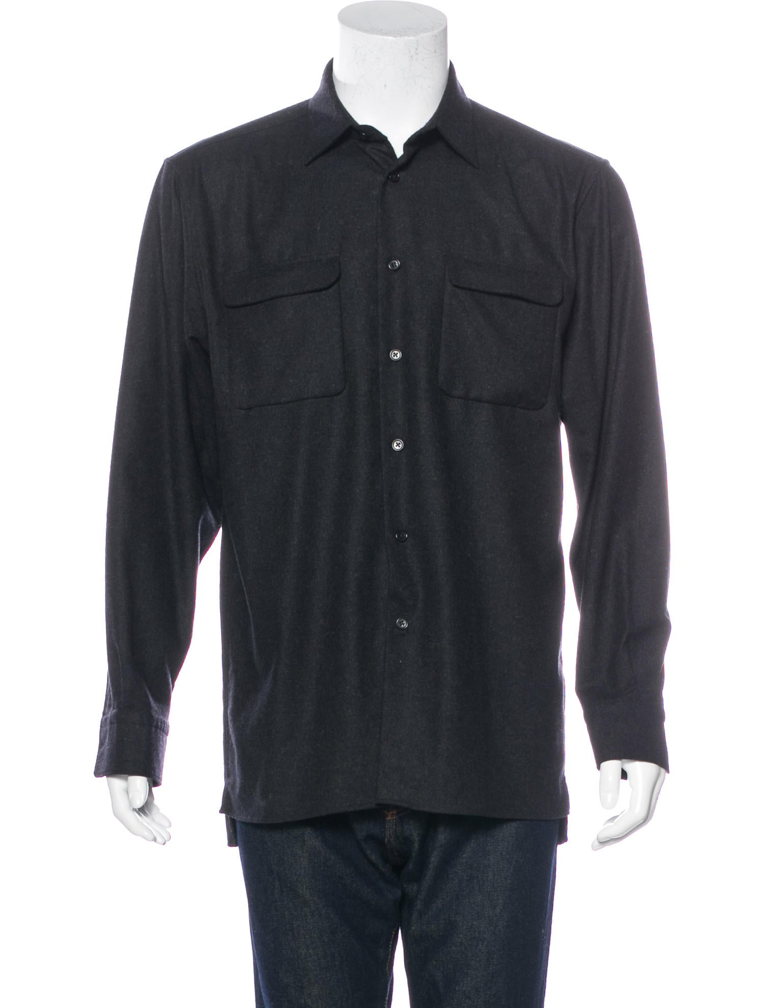 John varvatos wool flannel shirt clothing jva22959 for Mens wool flannel shirt