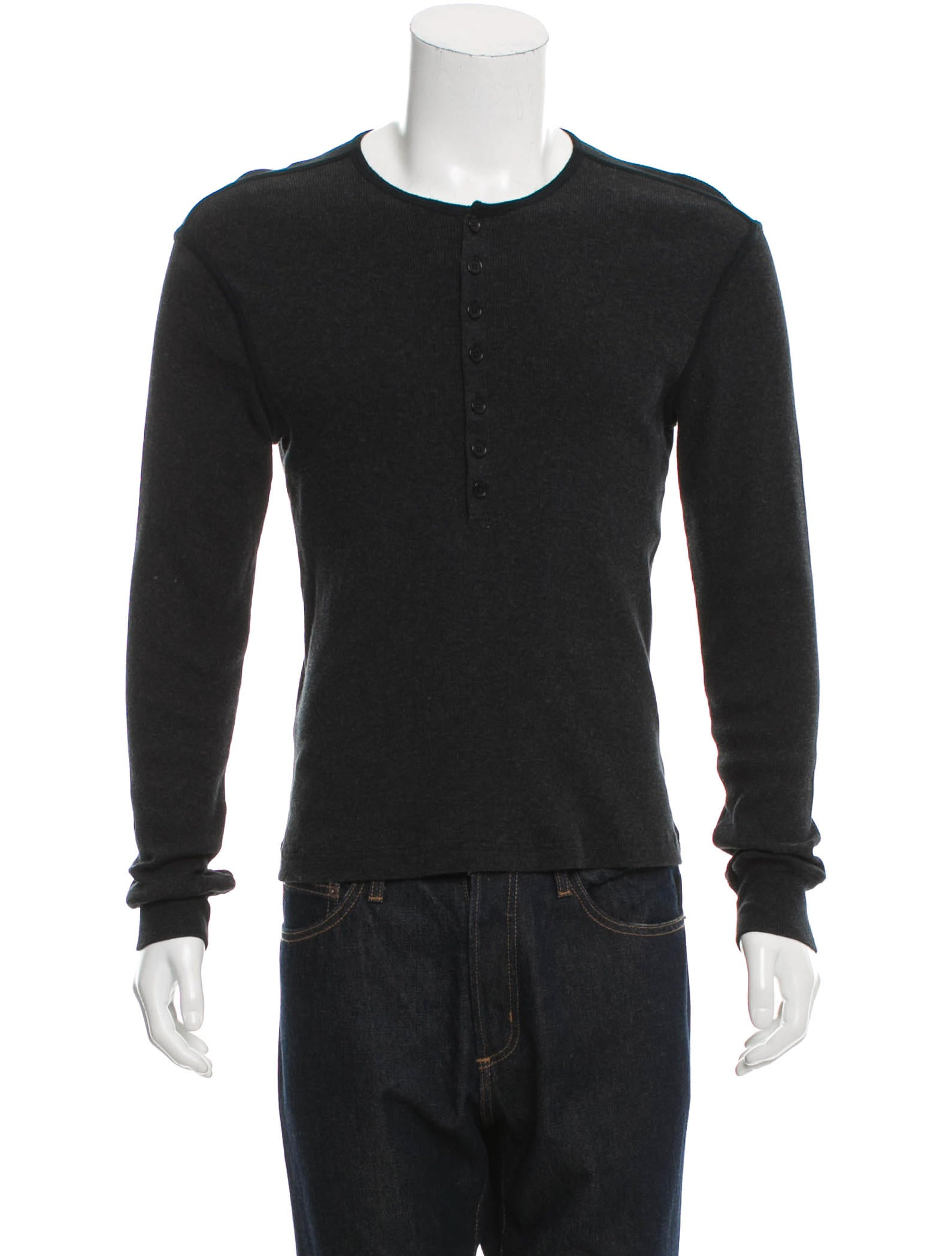 John Varvatos Rib Knit Henley Sweater - Clothing - JVA23383 The RealReal
