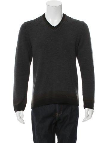 John Varvatos Wool Rib Knit Sweater None