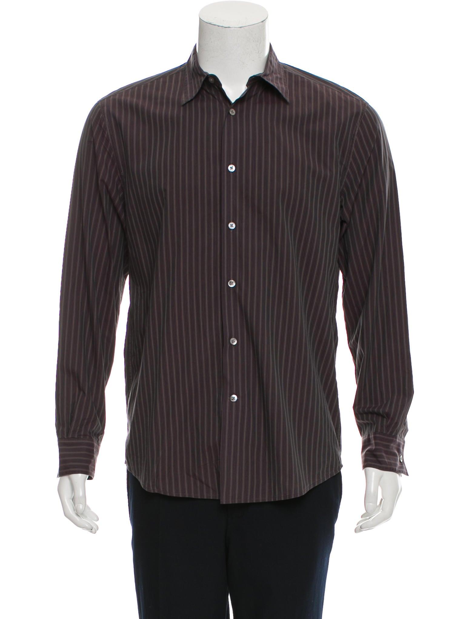 John varvatos striped button up shirt clothing for Striped button up shirt mens