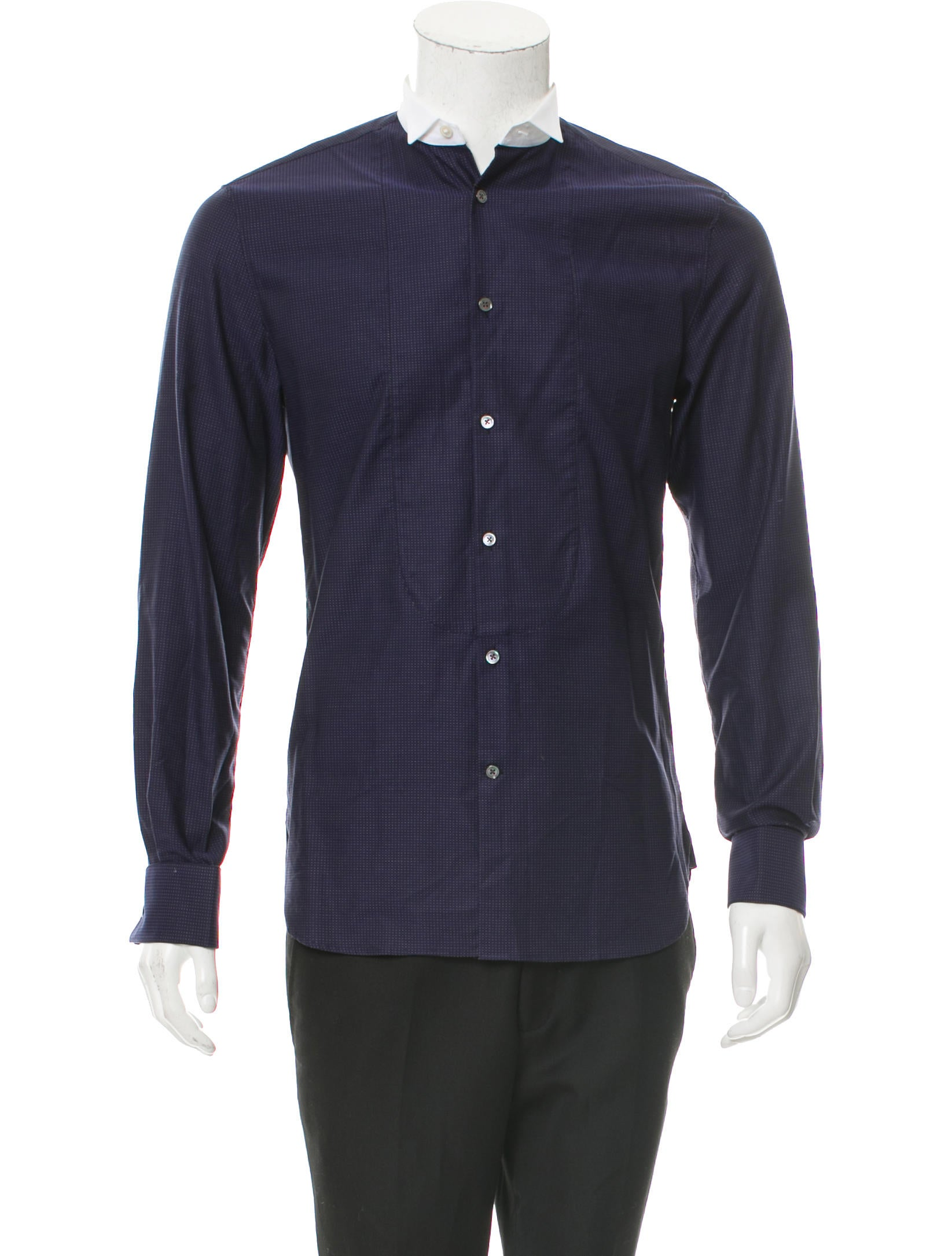John varvatos french cuff button up shirt w tags for Pin collar shirt double cuff