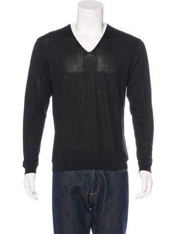 John Varvatos Rib Knit V-Neck Sweater None