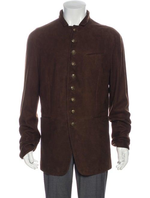John Varvatos Shearling Overcoat Brown