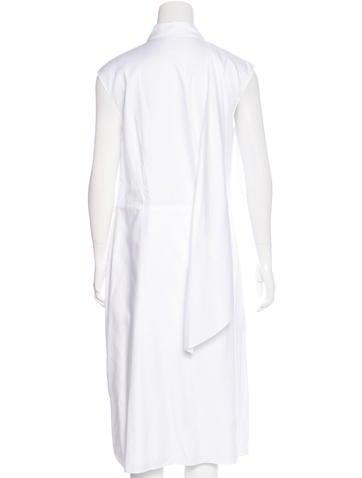 Tie-Accented Midi Shirtdress