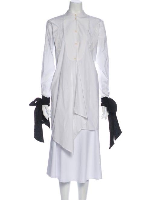 J.w. Anderson Button-Up Mandarin Collar Top White