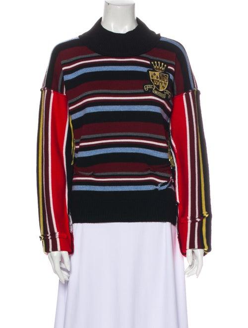 J.w. Anderson Merino Wool Striped Sweater Wool