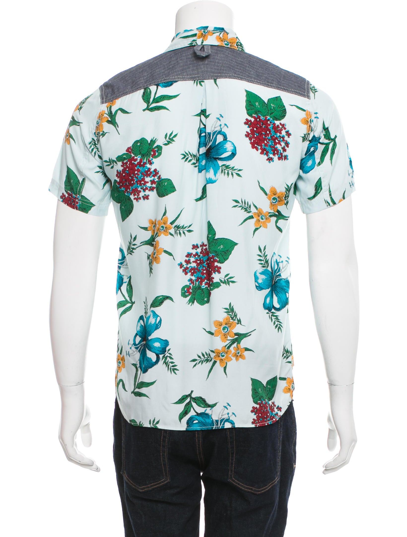 Junya watanabe comme des gar ons floral print button up for Floral print button up shirt