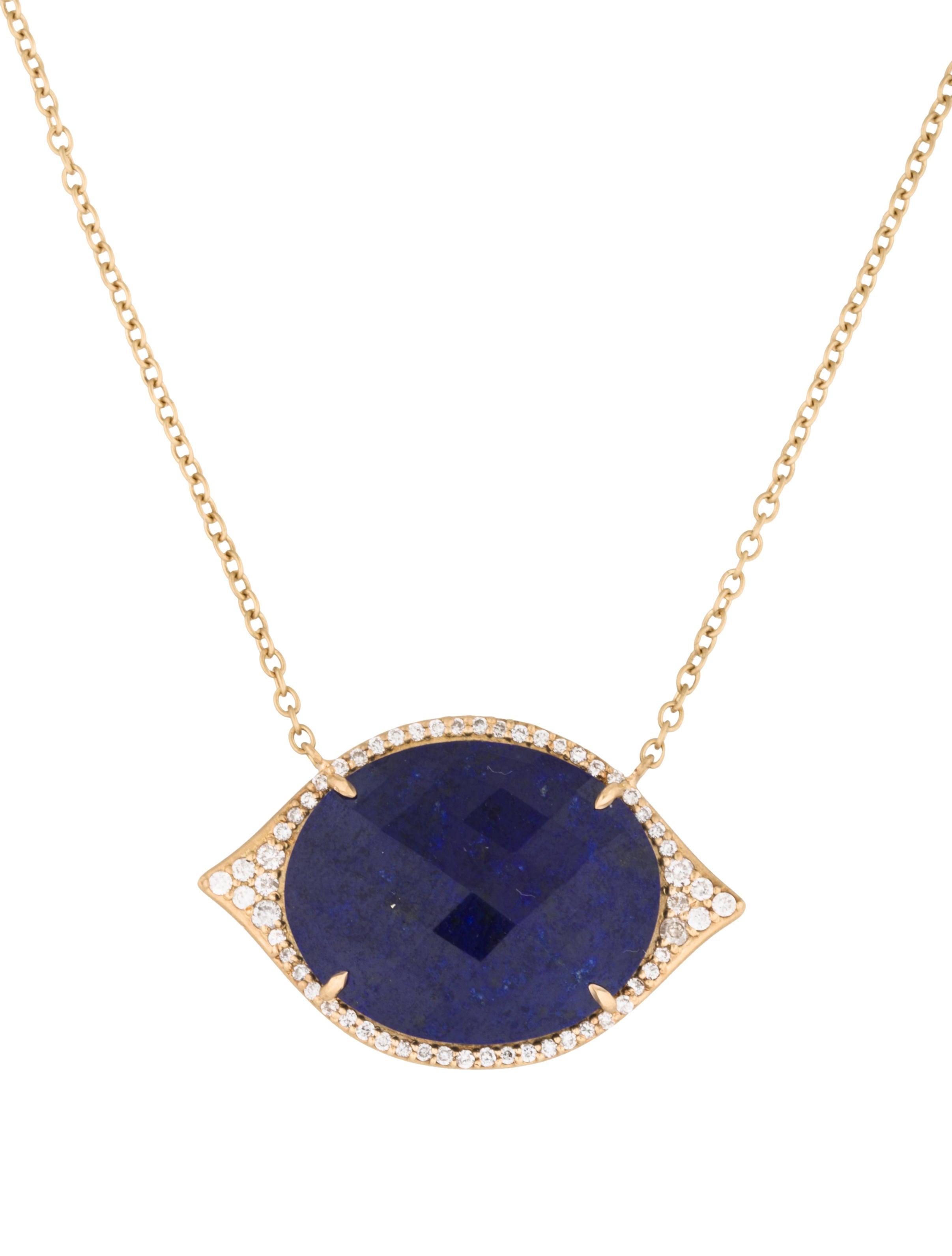 jamie wolf 18k diamond lapis lazuli evil eye necklace. Black Bedroom Furniture Sets. Home Design Ideas
