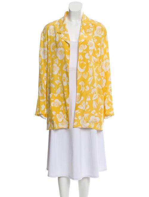 Karl Lagerfeld Silk Floral Jacket Yellow