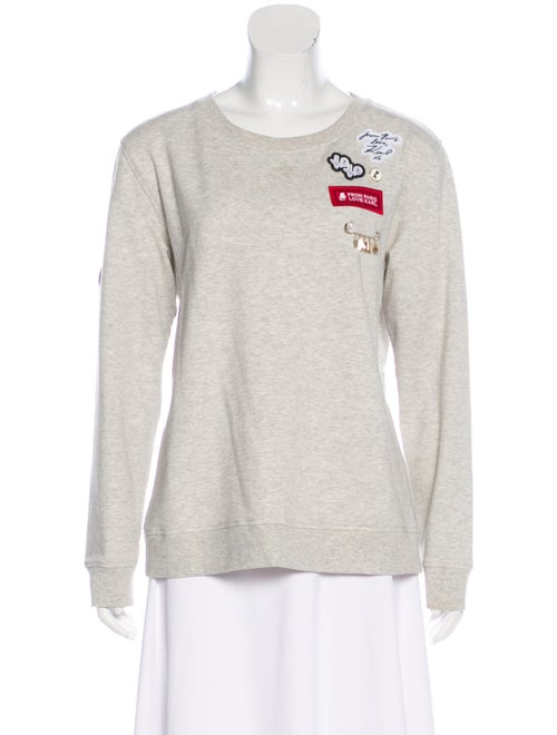 Karl Lagerfeld Embroidered Knit Sweater Grey