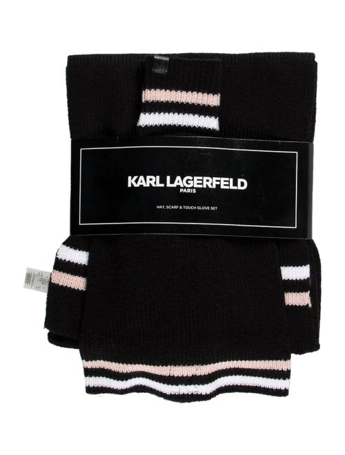 Karl Lagerfeld Knit Scarf Set Black