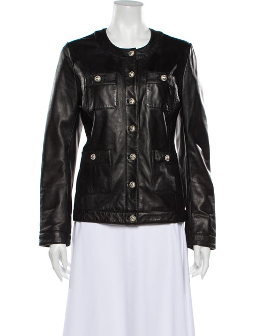Karl Lagerfeld Leather Biker Jacket Black
