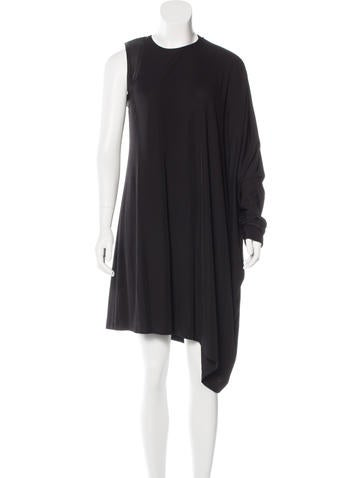 Kaufmanfranco Asymmetrical Leather-Trimmed Dress w/ Tags None