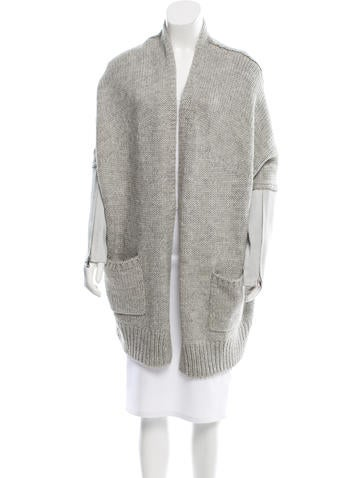 Kaufmanfranco Suede-Paneled Draped Cardigan w/ Tags None