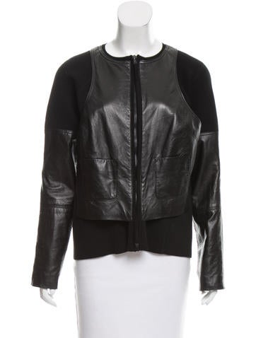 Kaufmanfranco Leather-Accented Knit Jacket None
