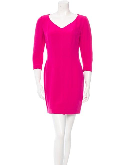 Kenzo Vintage V-Neck Long Sleeve Dress Magenta