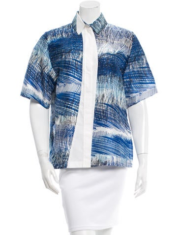 Kenzo Silk Button-Up Top None