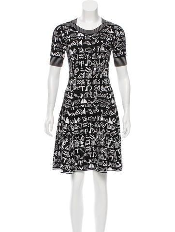 Kenzo Patterned Wool-Blend Dress None