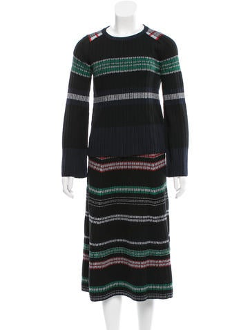Kenzo Striped Wool Skirt Suit None