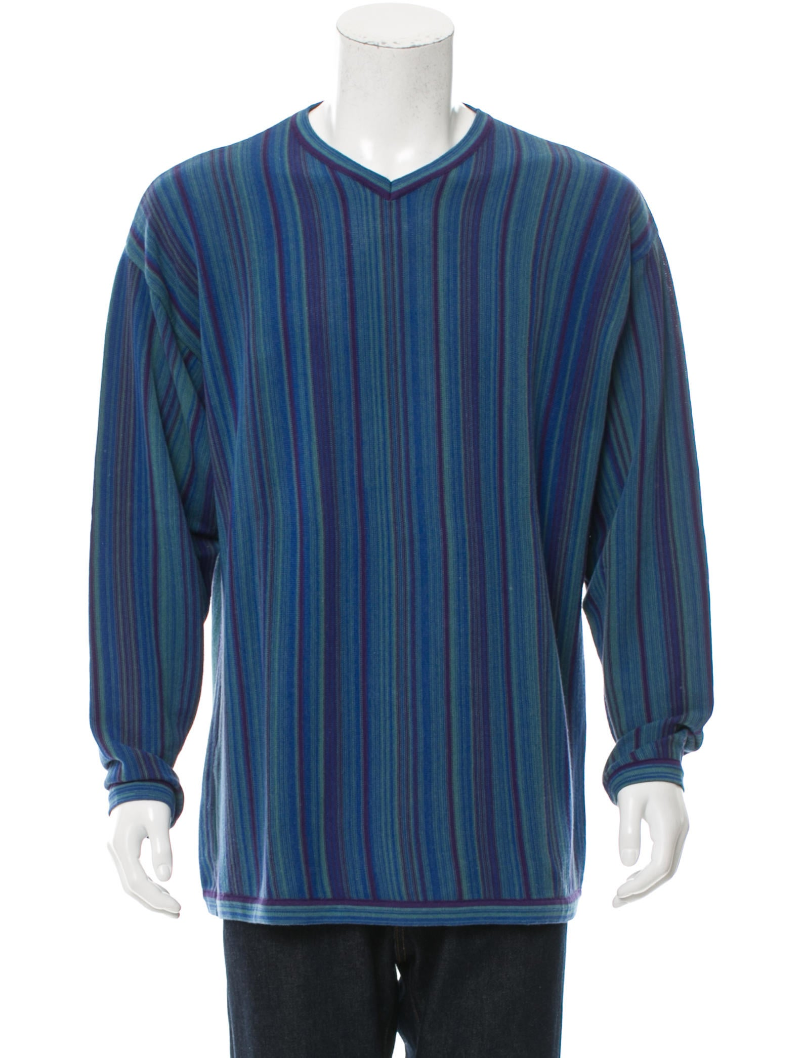 kenzo striped v neck sweater clothing ken24986 the realreal. Black Bedroom Furniture Sets. Home Design Ideas