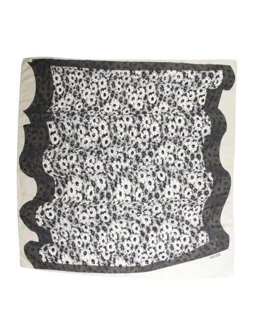 Kenzo Floral Print Scarf Grey