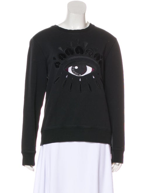 Kenzo Long Sleeve Embroidered Sweater Black