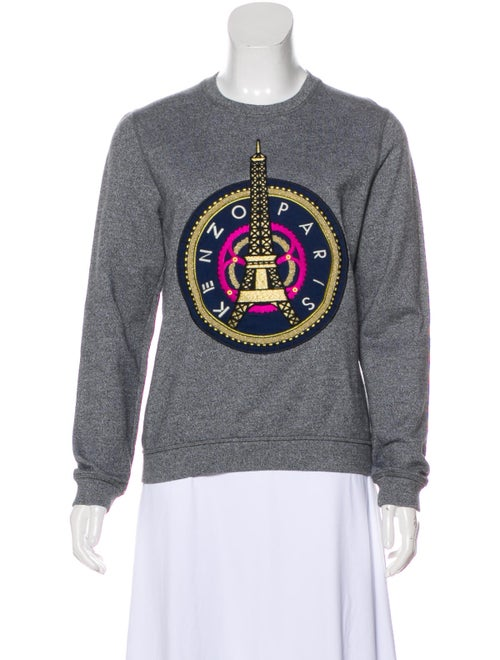 Kenzo Embroidered Knit Sweater Grey