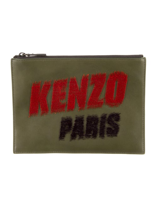 Kenzo Leather Logo Pouch Olive