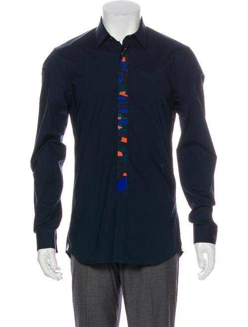 Kenzo Geometric Print-Trimmed Shirt navy