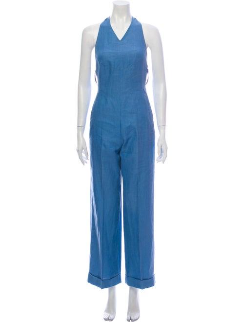Kenzo Linen V-Neck Jumpsuit Blue