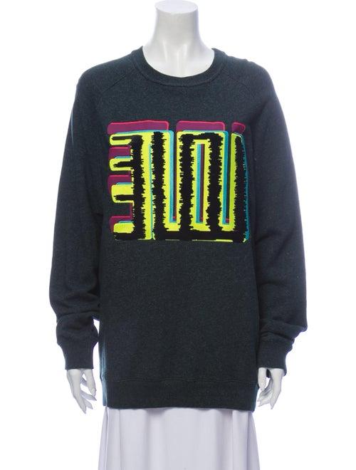 Kenzo Graphic Print Scoop Neck Sweater Green
