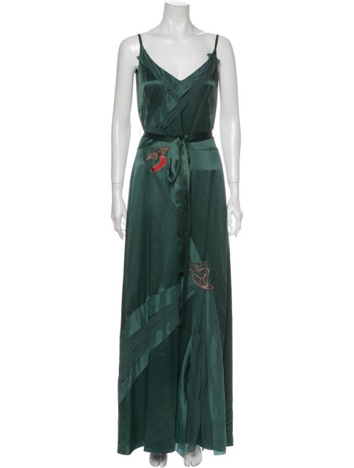 Kenzo Silk Long Dress Green