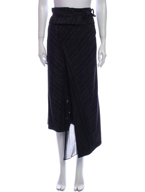 Kenzo Striped Midi Length Skirt Black