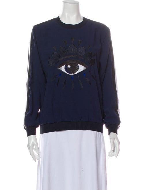 Kenzo Graphic Print Crew Neck Sweater Blue