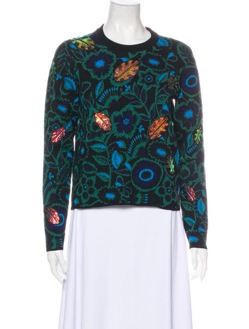 Kenzo Wool Floral Print Sweater Wool