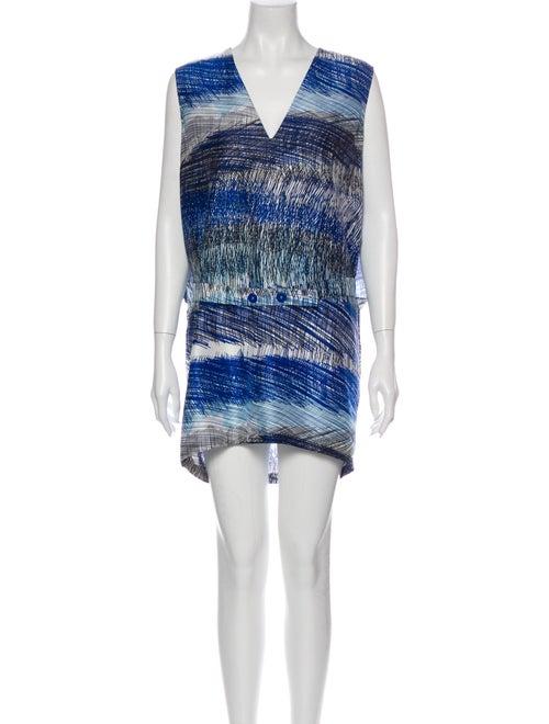 Kenzo Silk Mini Dress Blue