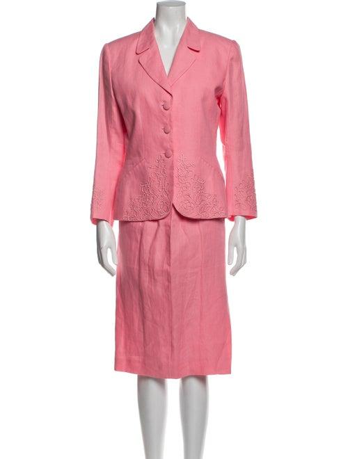 Kenzo Vintage Linen Skirt Suit Pink - image 1