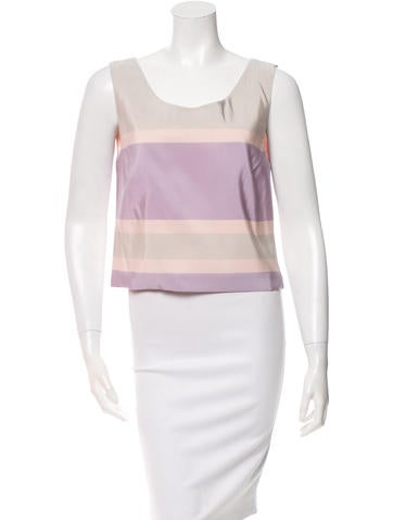 Katie Ermilio Striped Silk Top w/ Tags
