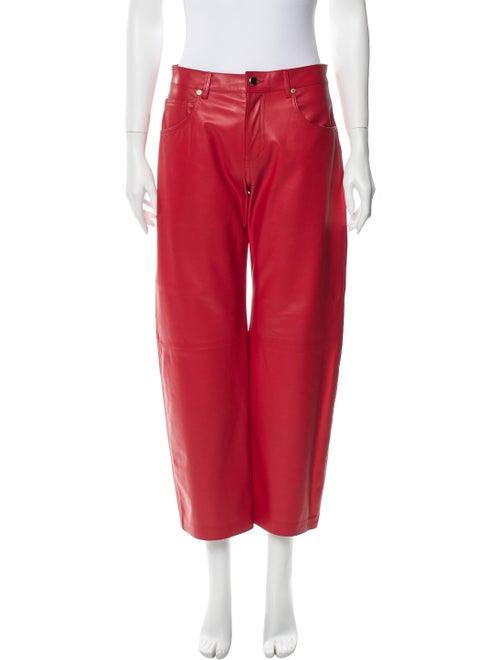 Khaite Leather Wide Leg Pants Red