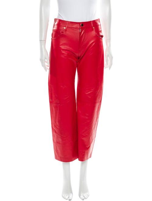 Khaite Leather Straight Leg Pants Red
