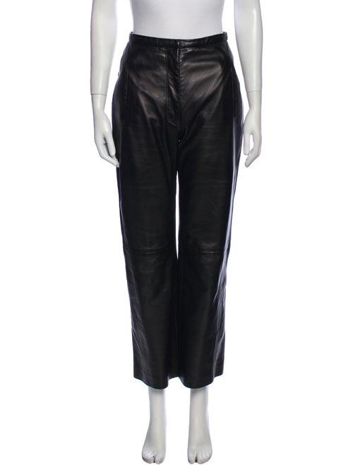 Khaite Leather Wide Leg Pants Black
