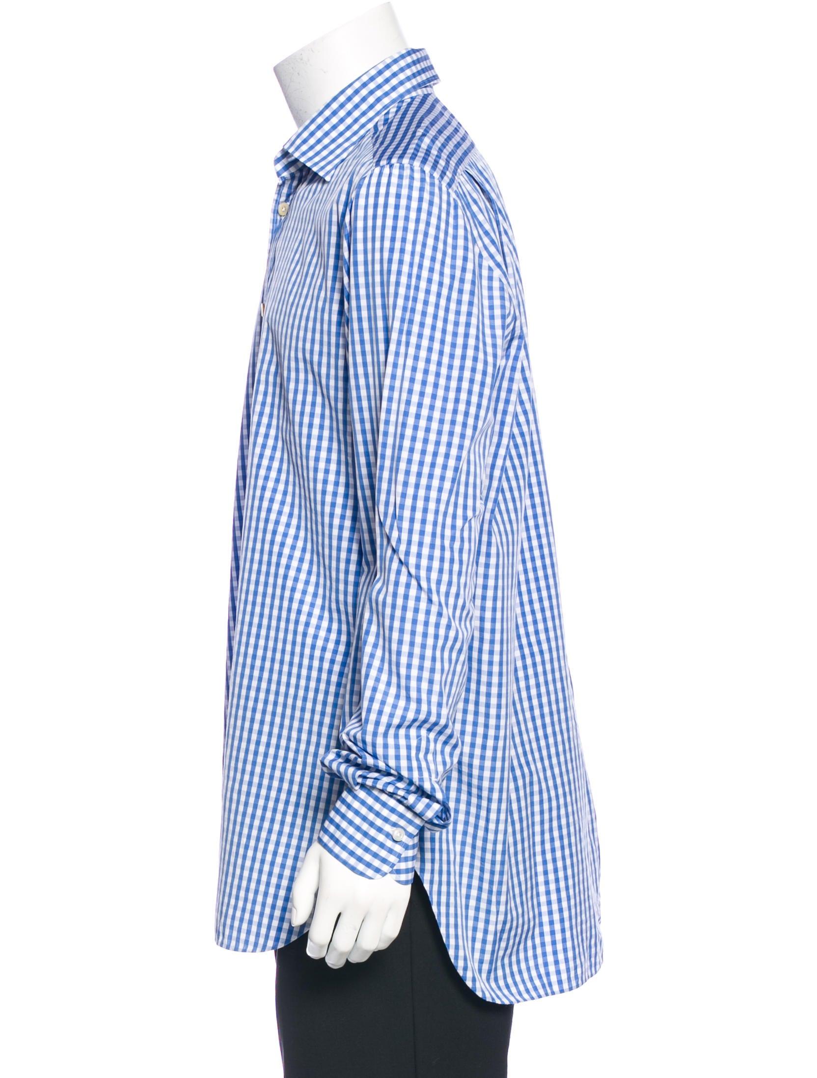 Kiton gingham dress shirt clothing kit21261 the realreal for Men s red gingham dress shirt