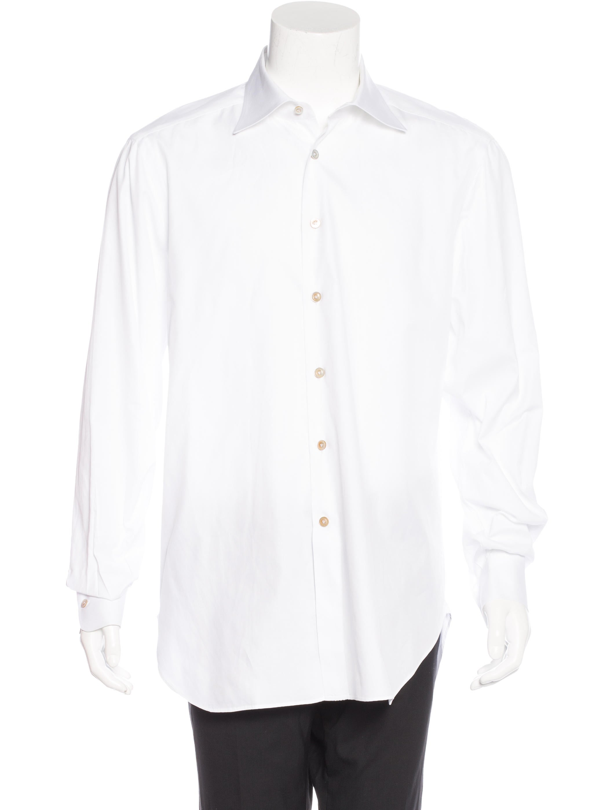 Kiton french cuff button up shirt clothing kit21390 for Pin collar shirt double cuff