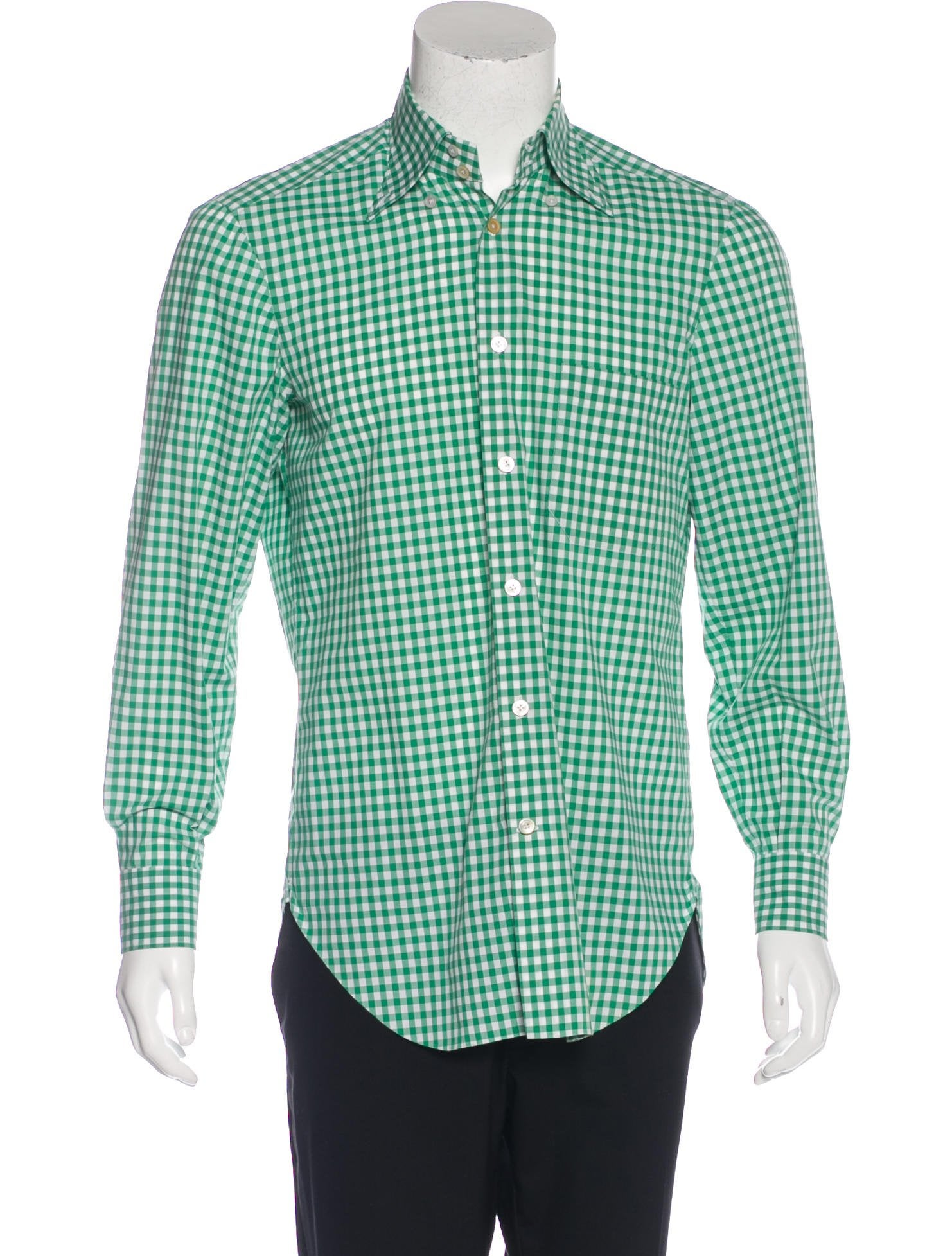 Kiton gingham button up shirt clothing kit21780 the for Mens green gingham dress shirt