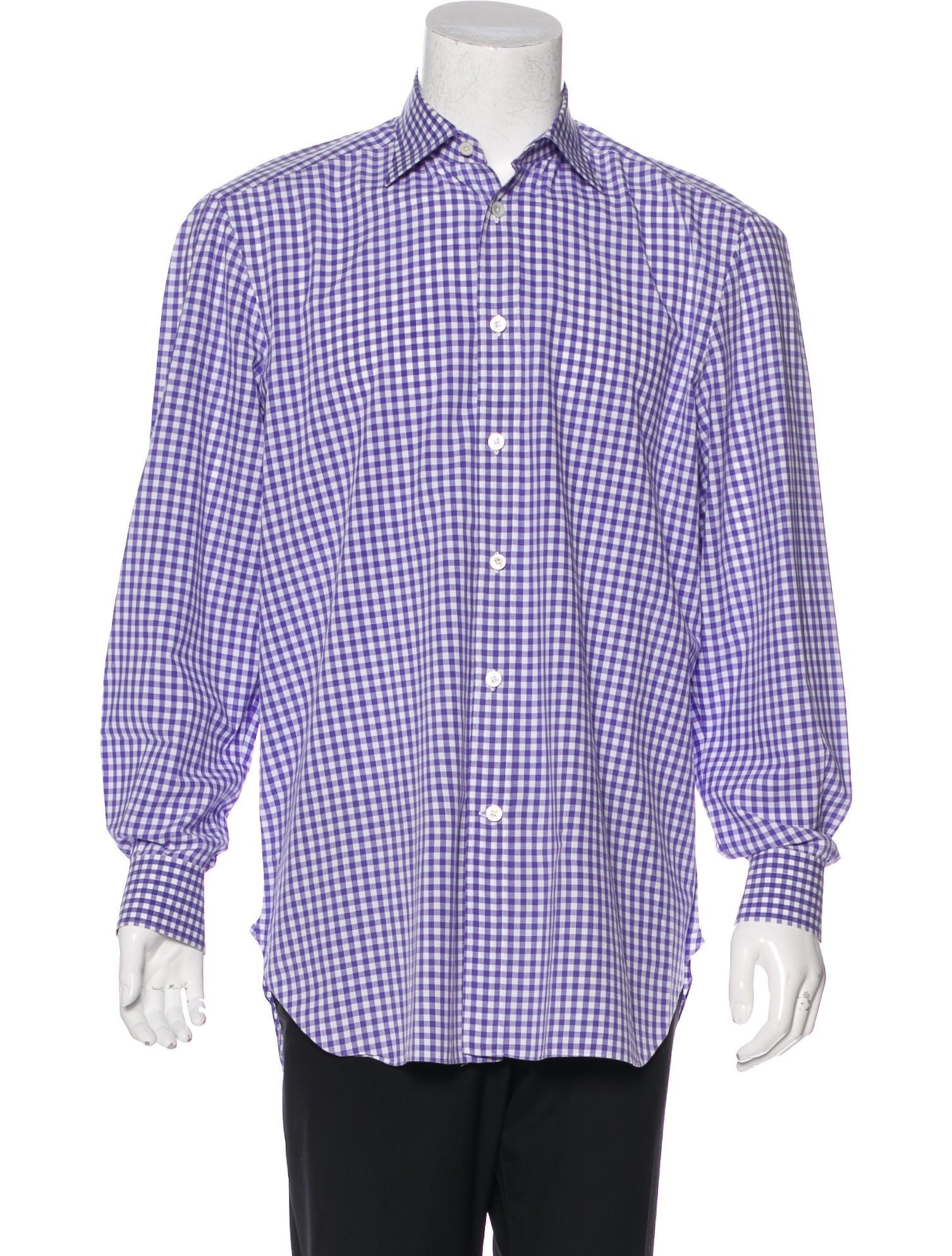 Kiton gingham dress shirt clothing kit21803 the realreal for Men s red gingham dress shirt