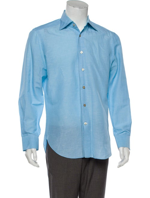 Kiton Linen-Blend Dress Shirt blue