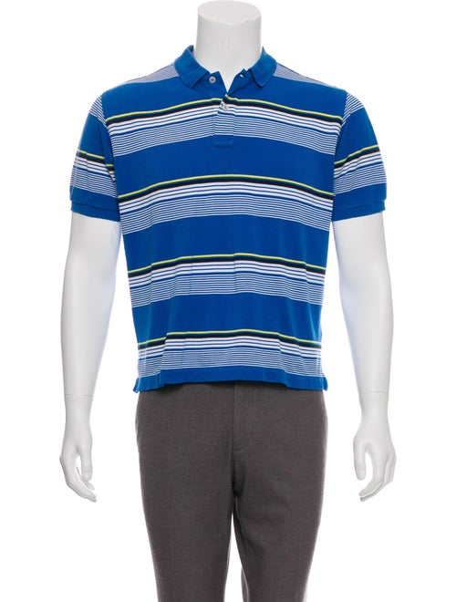 Kiton Striped Knit Polo blue